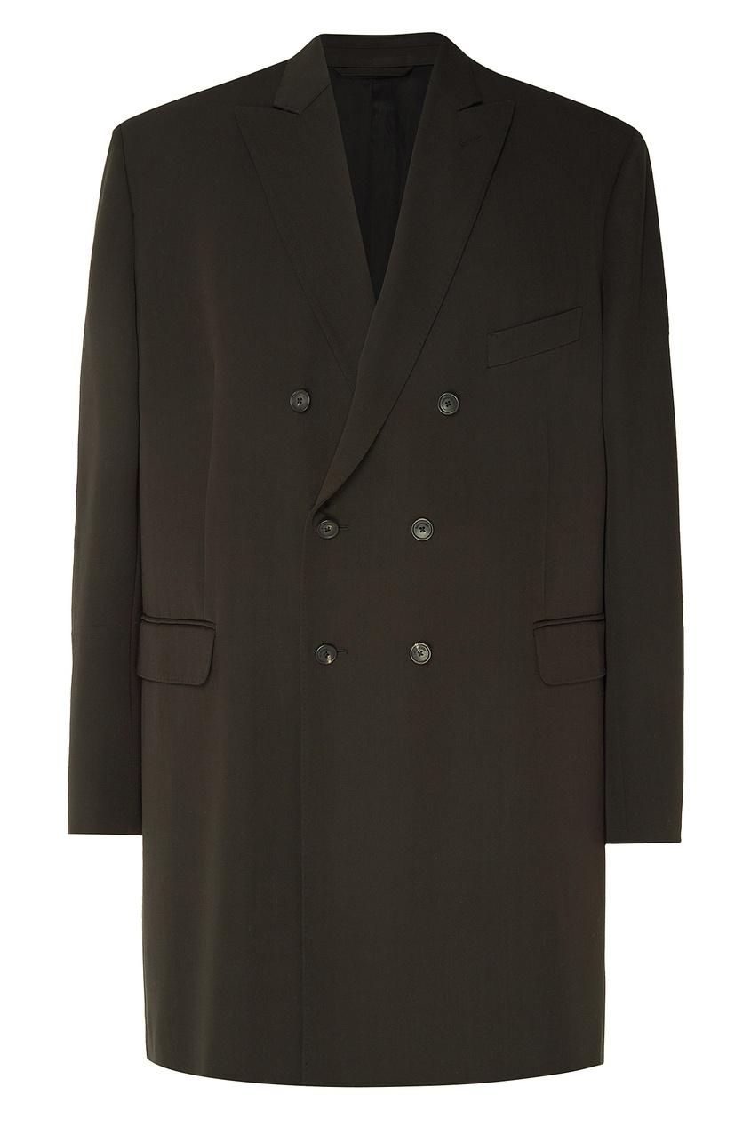 Купить Черное двубортное пальто оверсайз от Balenciaga Man черного цвета