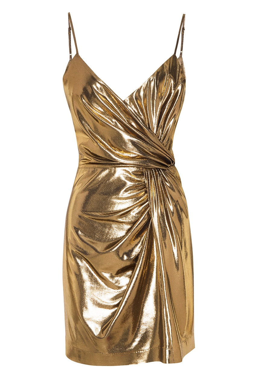 Золотистое платье на бретелях Laroom