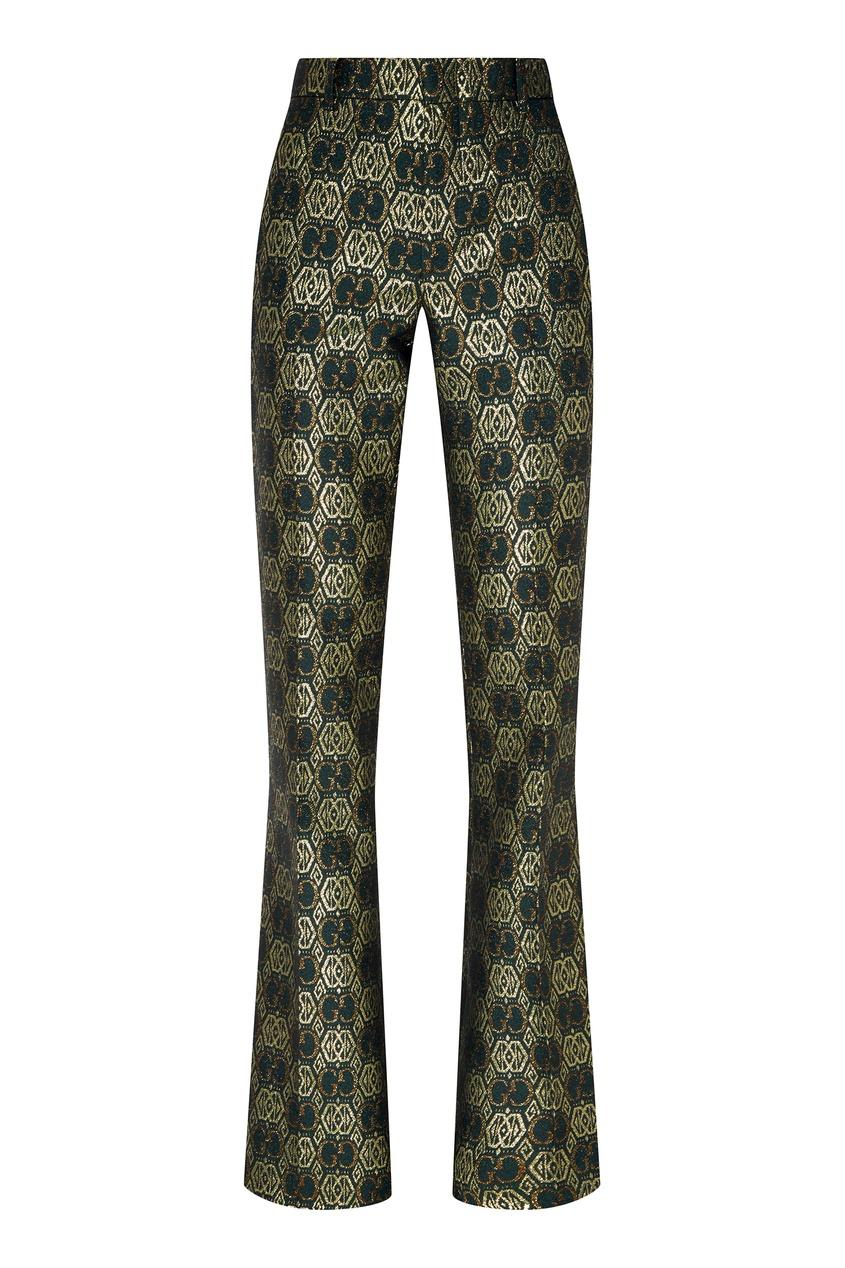 Золотисто-зеленые жаккардовые брюки GG Gucci