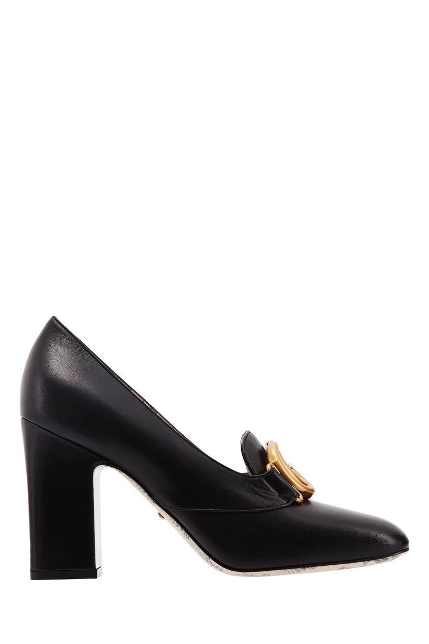 Черные кожаные туфли с монограммами GG Gucci