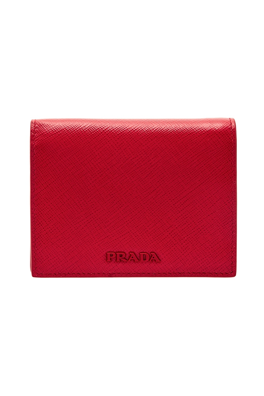 Красный кошелек с логотипом в тон PRADA