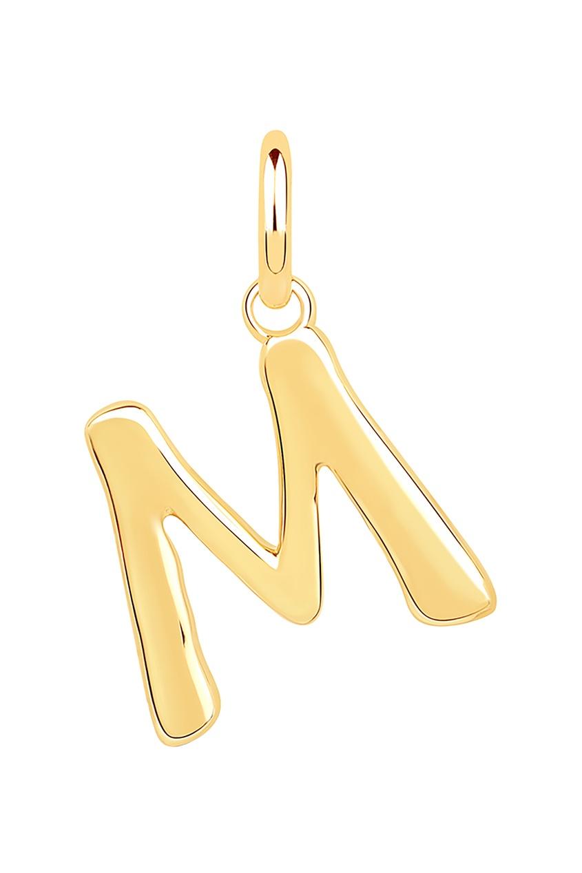 Купить Кулон с буквой М от LAV`Z желтого цвета