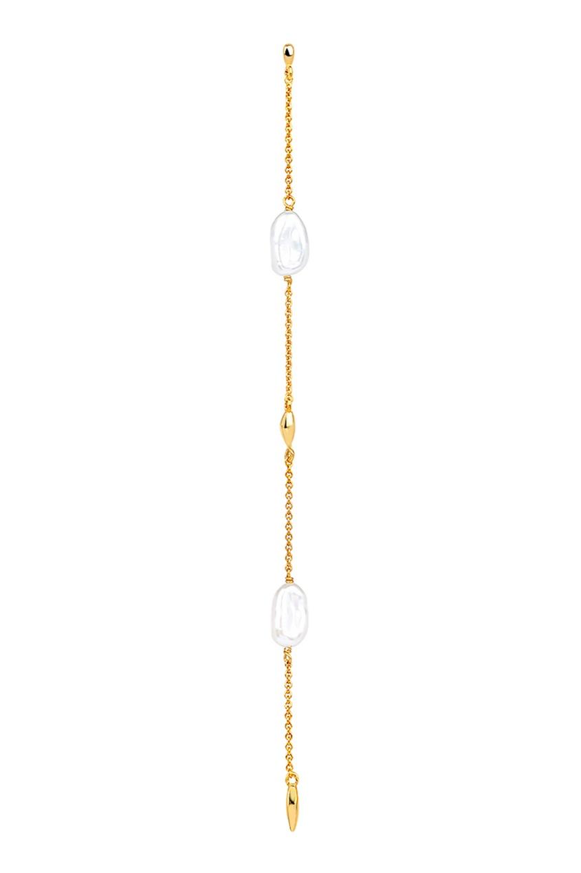 Купить Моносерьга с жемчужинами из коллекции Baroque от LAV`Z желтого цвета