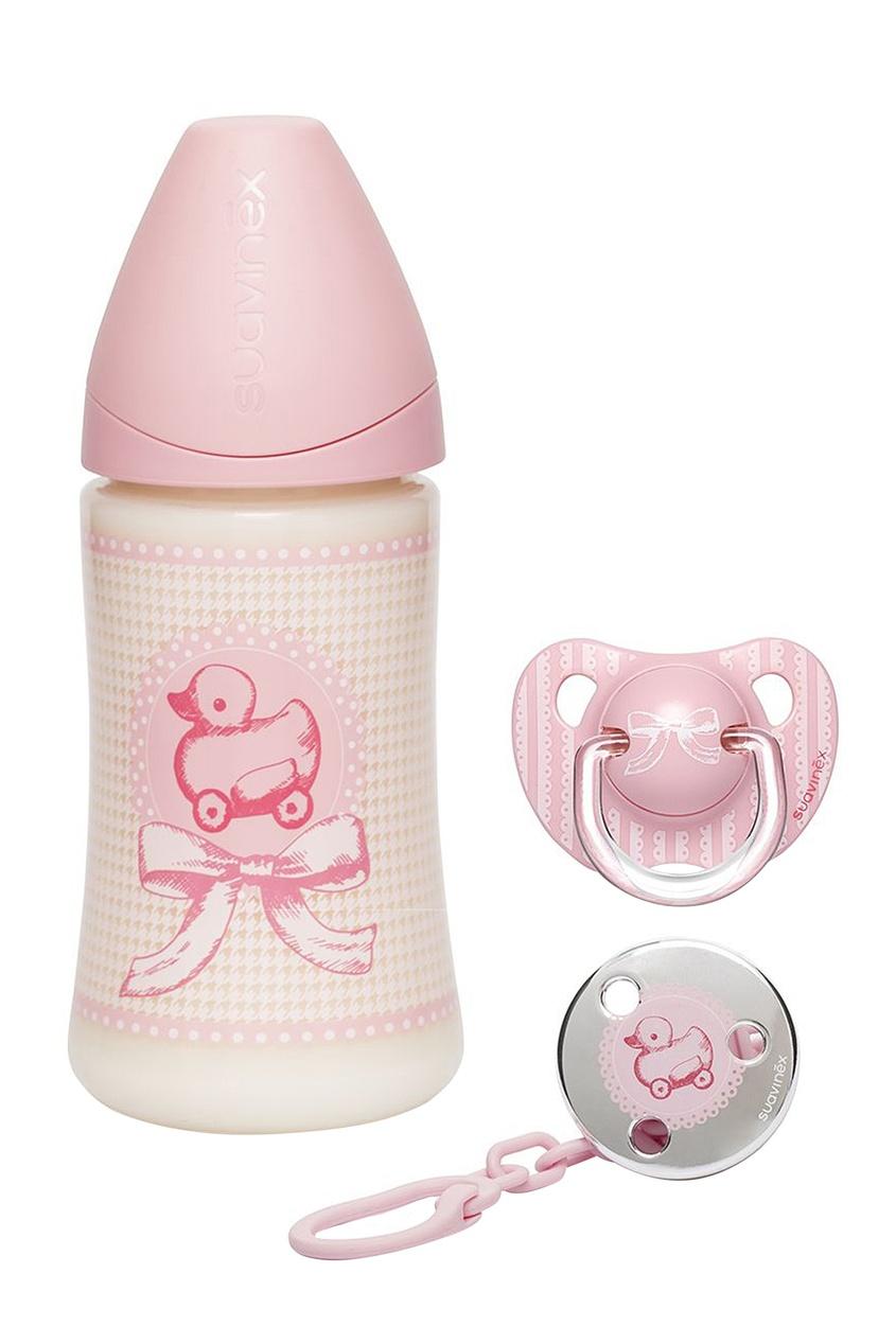 Детский набор с дизайном в розовом цвете.