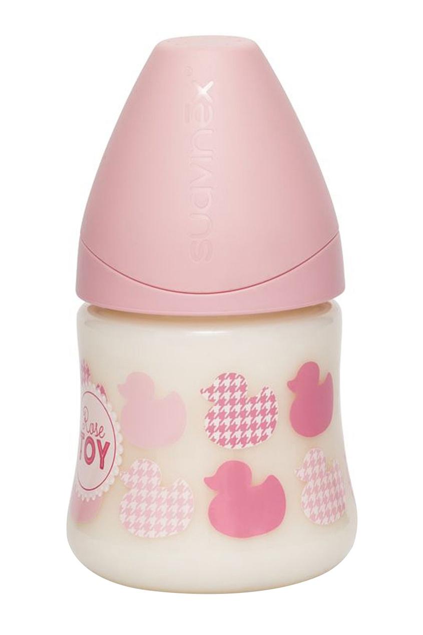 Розовая бутылка с принтом.