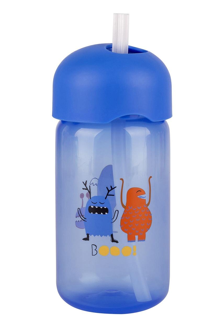 Синяя бутылка с трубочкой.