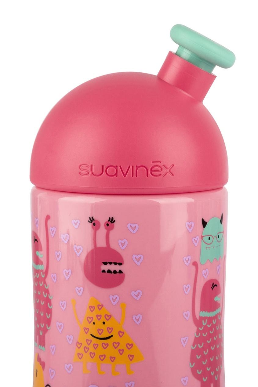 Розовая бутылочка с рисунком.