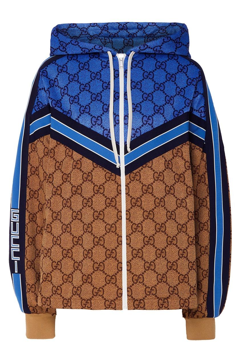 Сине-коричневая толстовка с монограммами GG от Gucci