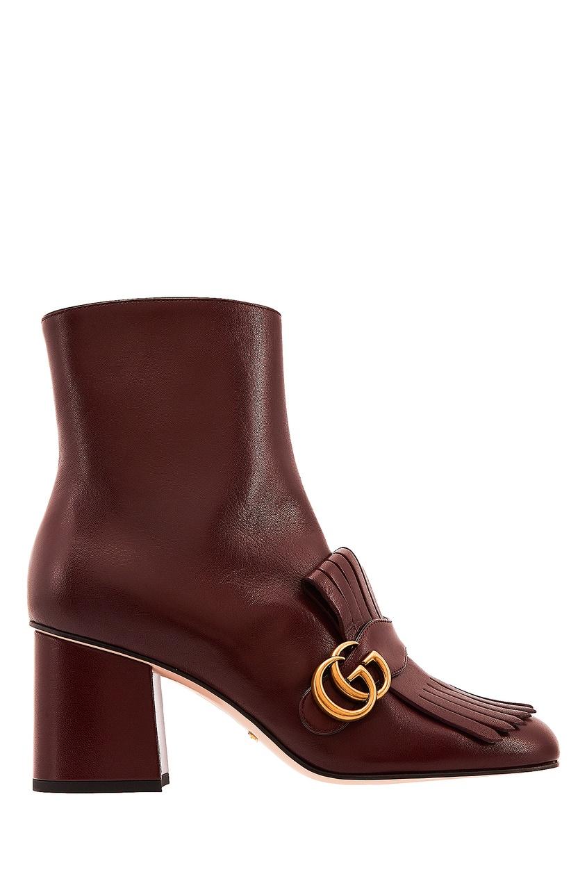 Бордовые кожаные ботильоны Gucci