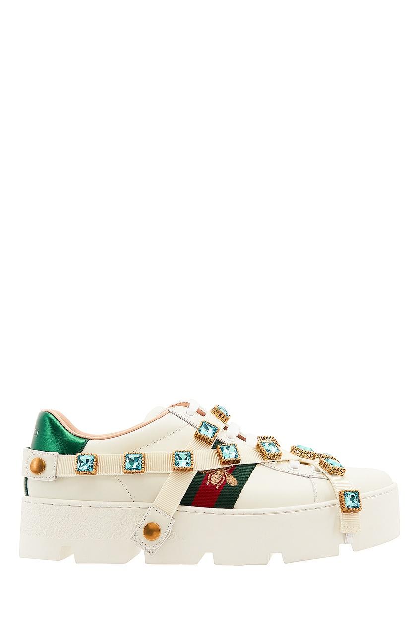 Кроссовки на платформе со съемными кристаллами New Ace от Gucci