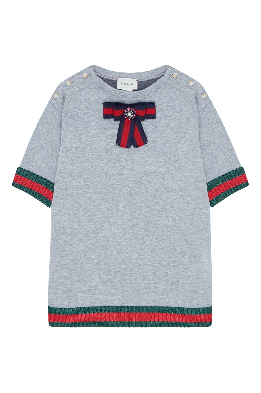 Купить Серое платье с вязаной отделкой от Gucci Kids серого цвета