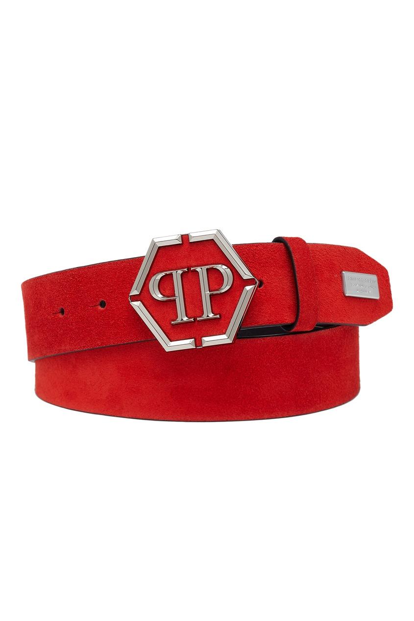 Красный ремень с эмблемой Philipp Plein