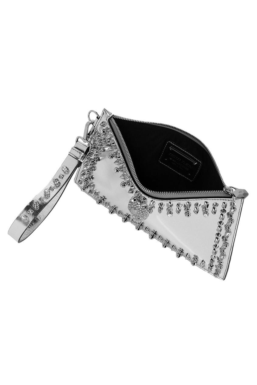женский клатч philipp plein, серый
