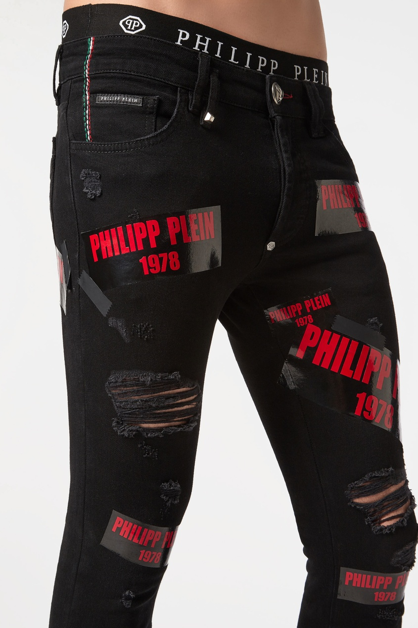 Черные джинсы с логотипами, Черный