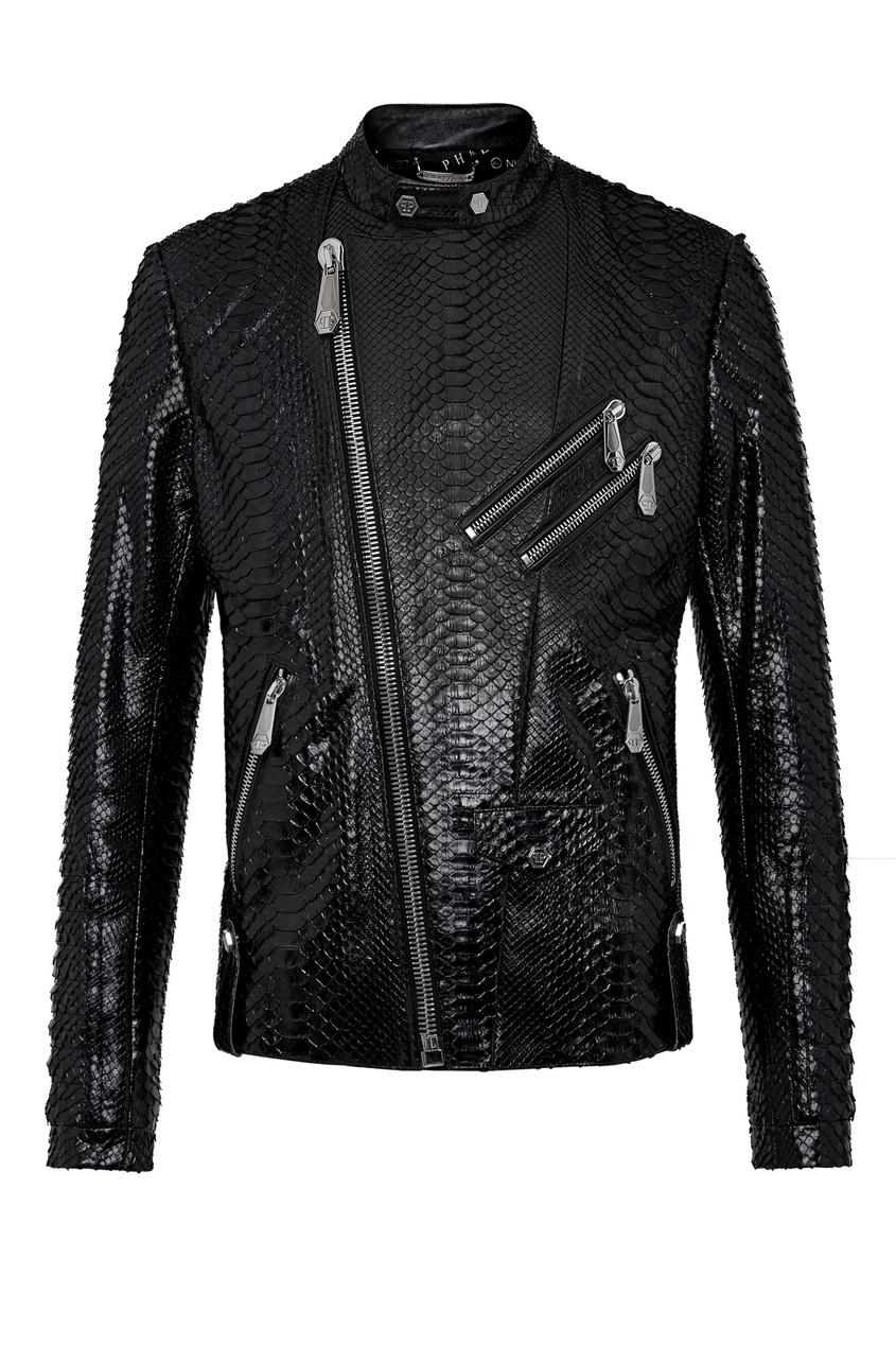 Купить Куртку из кожи питона от Philipp Plein черного цвета