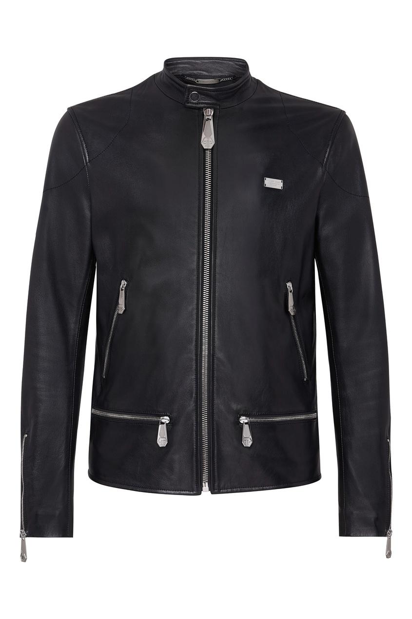 Купить Короткая черная кожаная куртка от Philipp Plein черного цвета