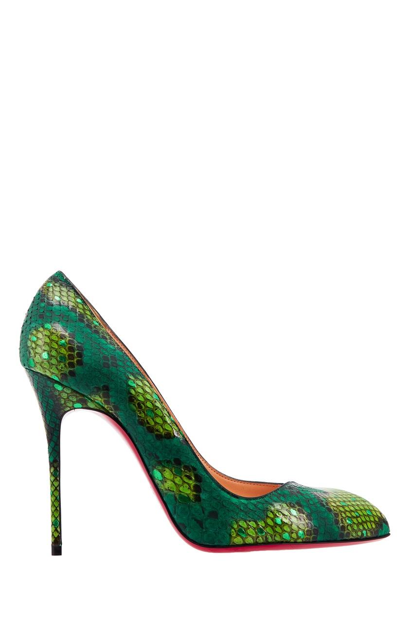 Туфли из кожи питона Corneille Python Paon 100 Christian Louboutin