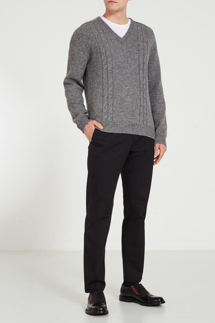 Черные кожаные ботинки с контрастной отделкой, Черный