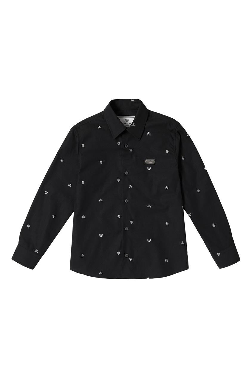 Черная рубашка с принтом Philipp Plein Kids