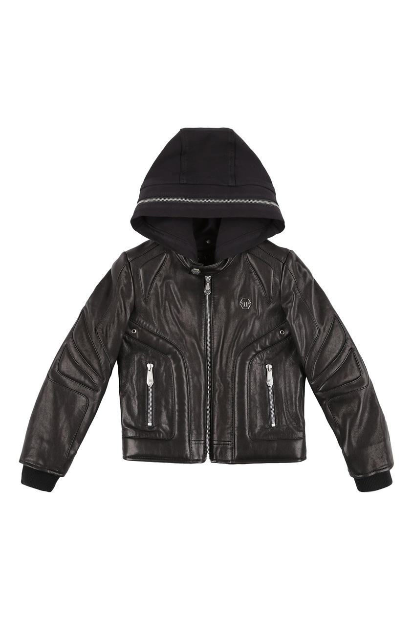 Черная куртка с капюшоном Philipp Plein Kids