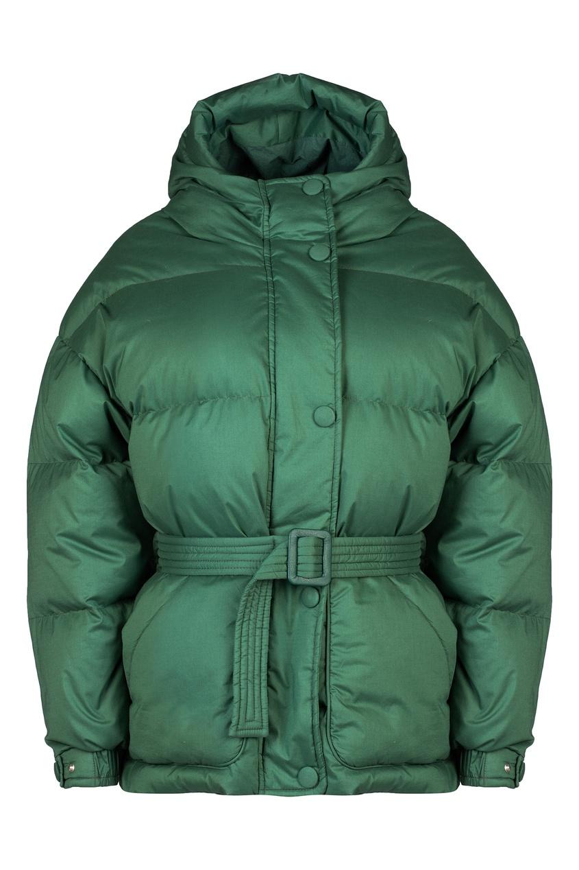 Купить Зеленая куртка-пуховик с капюшоном от Ienki Ienki зеленого цвета