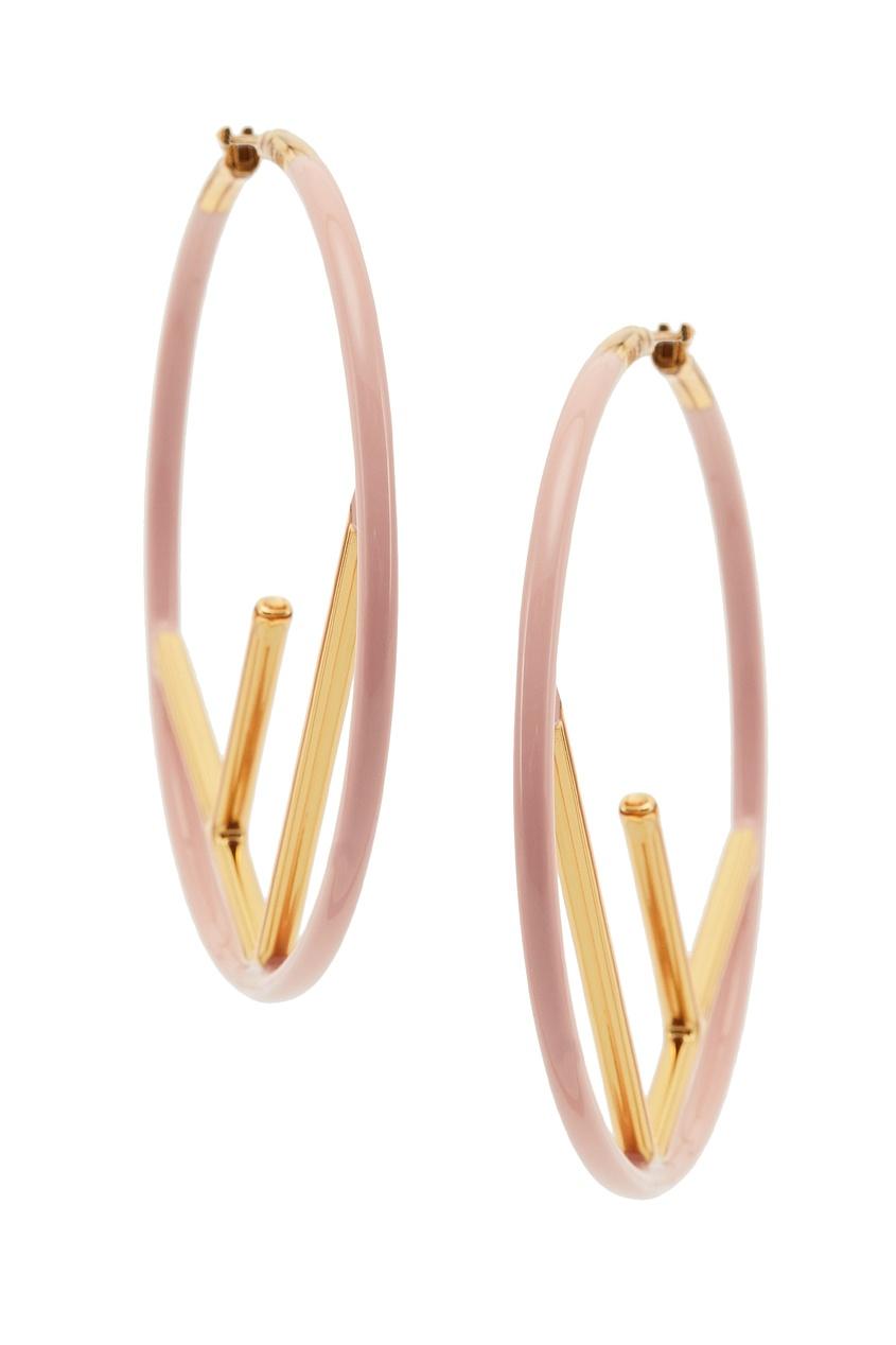 Купить Золотисто-розовые серьги F is Fendi цвет multicolor