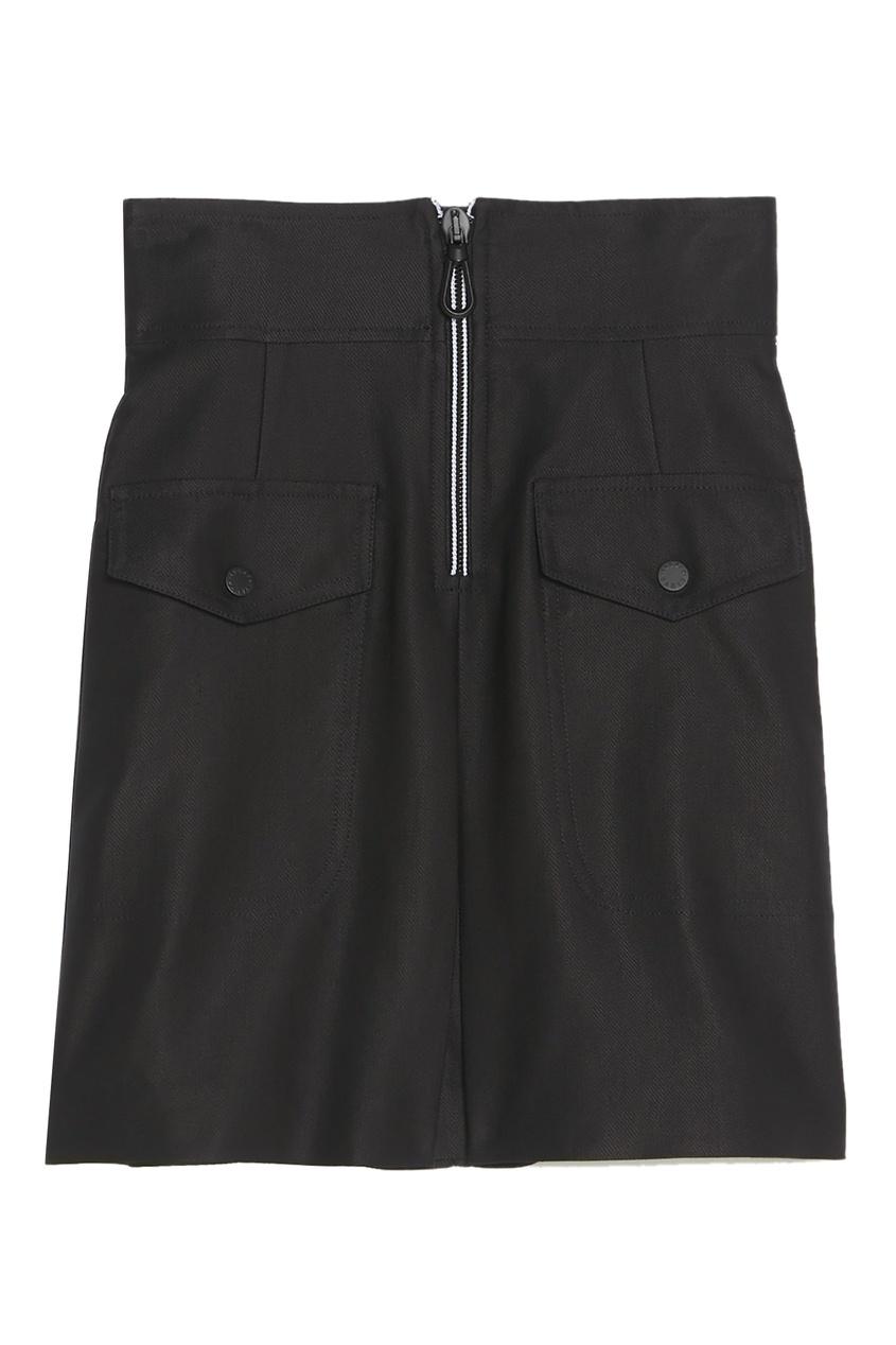 Черная мини-юбка на молнии Sandro