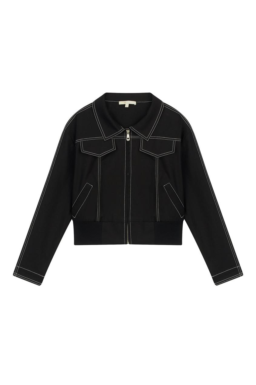 Купить Черная куртка из стретч-денима от Maje черного цвета