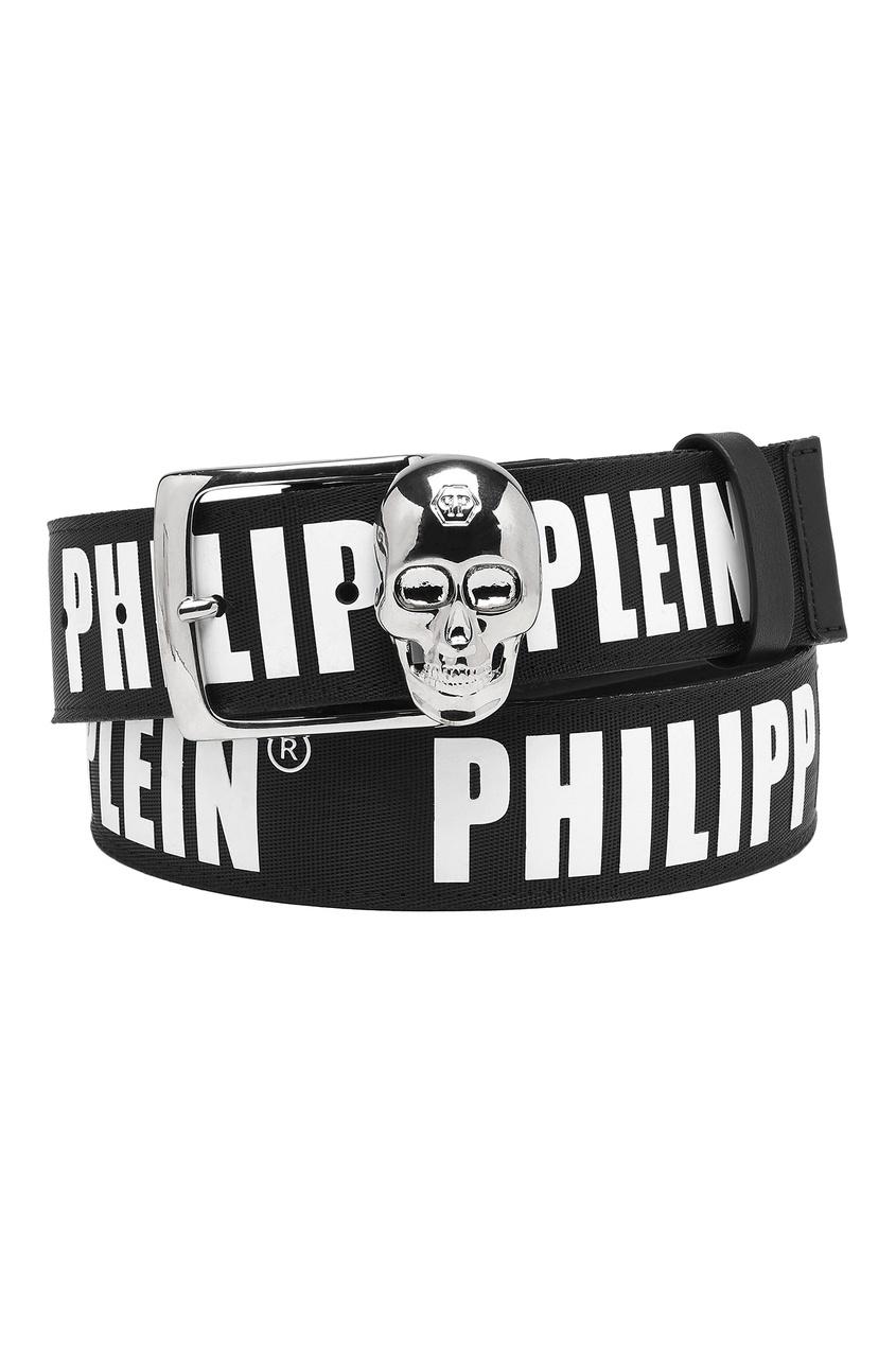 Кожаный ремень с принтом Philipp Plein