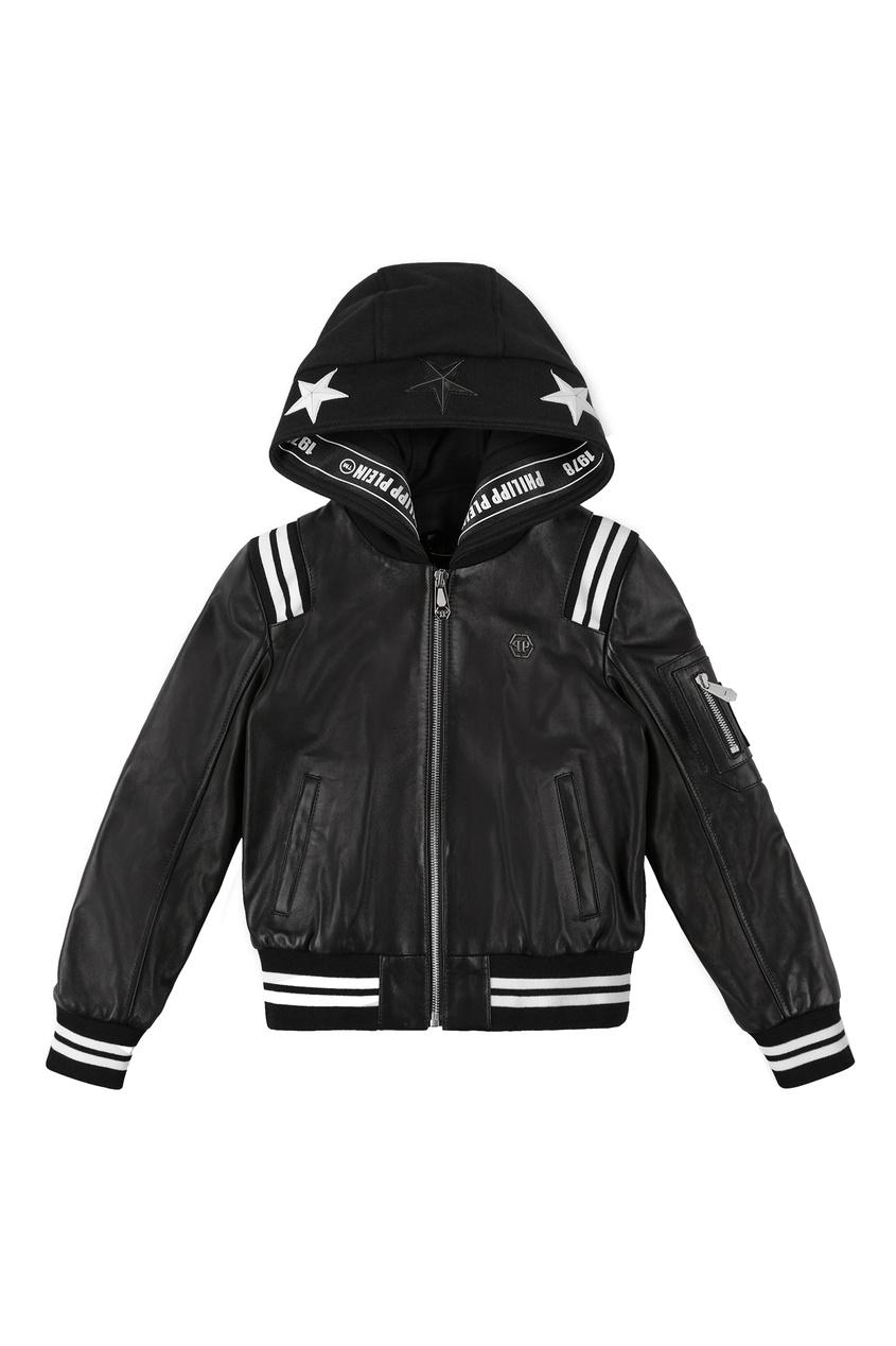 Кожаная куртка с контрастной отделкой Philipp Plein Kids
