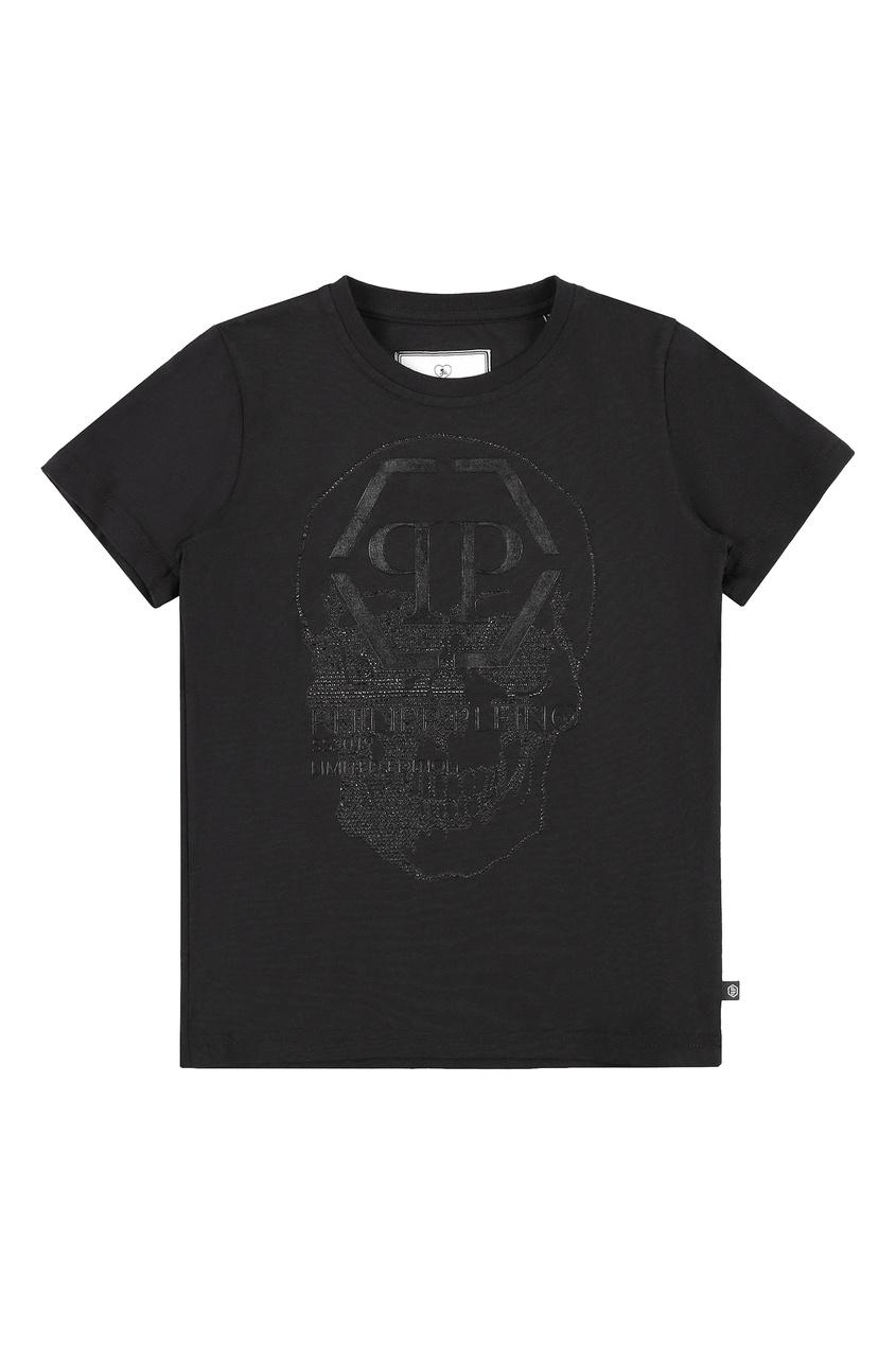Черная футболка со стразами Philipp Plein Kids