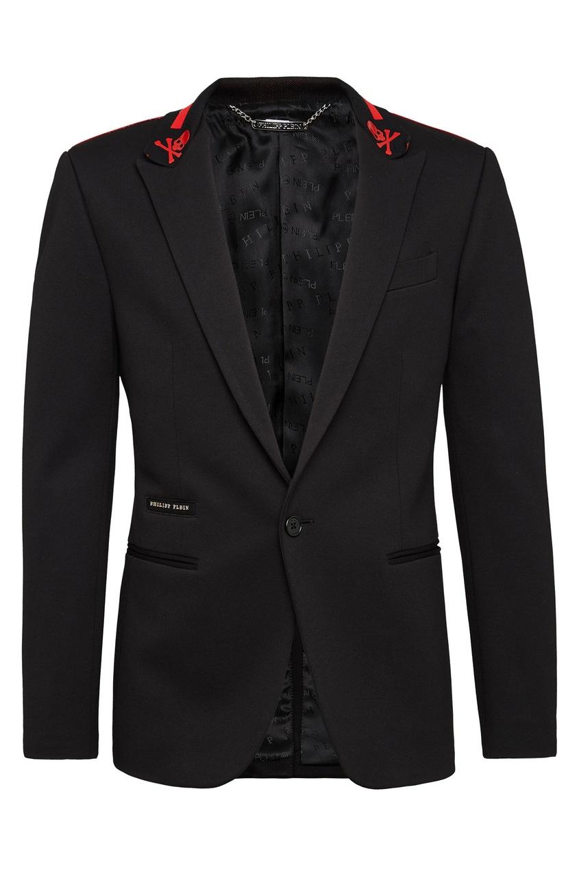 Черный пиджак с контрастной отделкой Philipp Plein