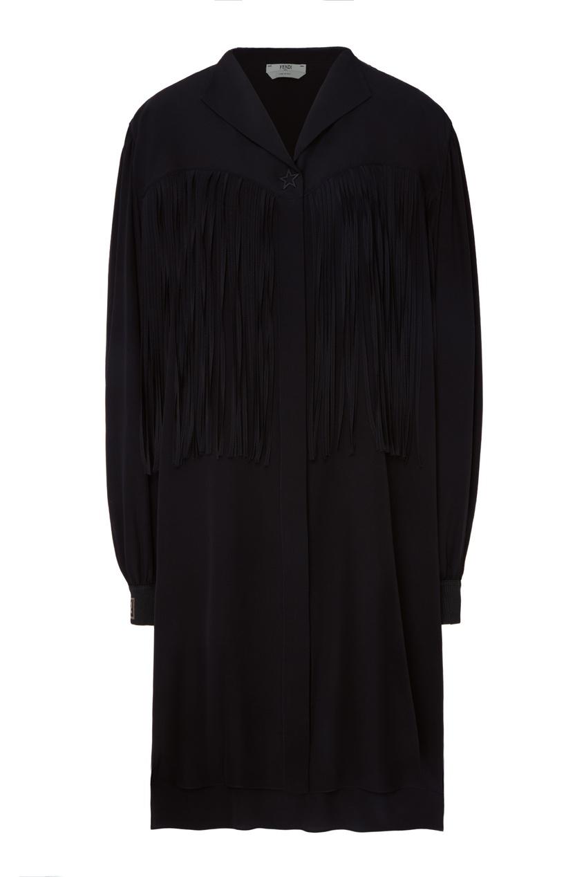 Купить Черное платье-рубашка с бахромой от Fendi черного цвета