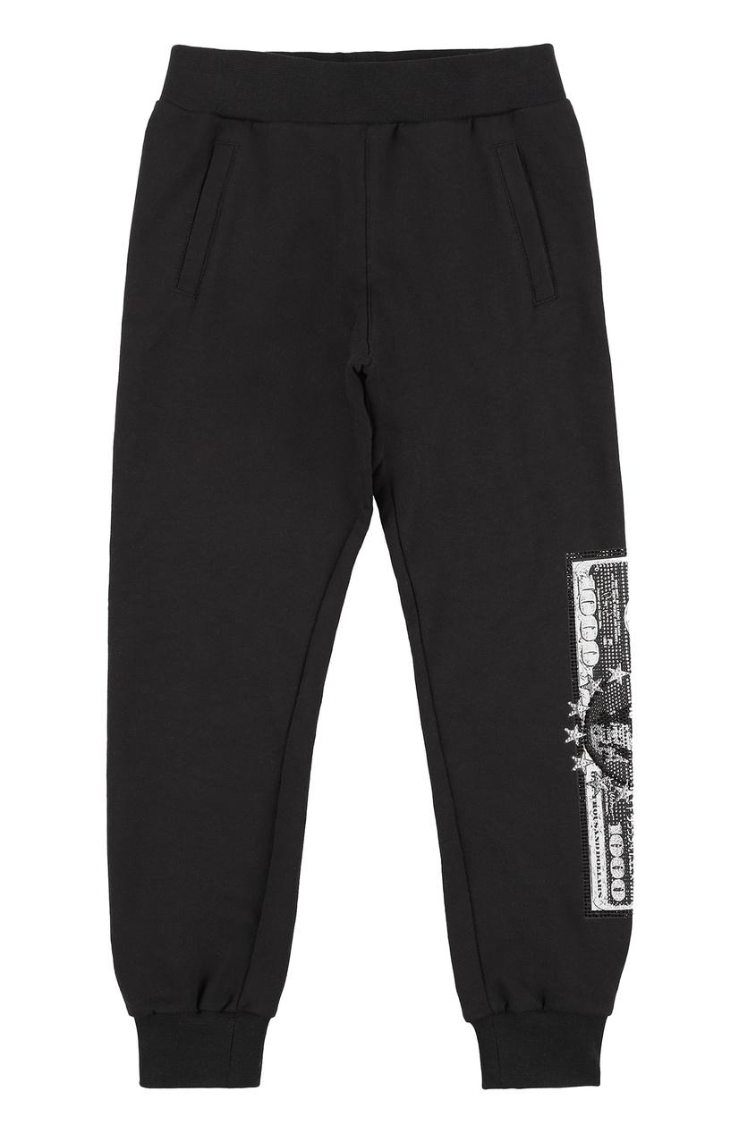 Черные брюки с кристаллами Philipp Plein Kids
