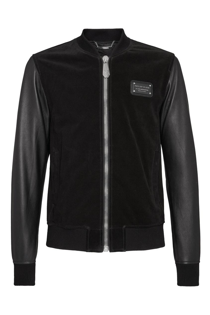 Купить Комбинированная куртка с черепом от Philipp Plein черного цвета