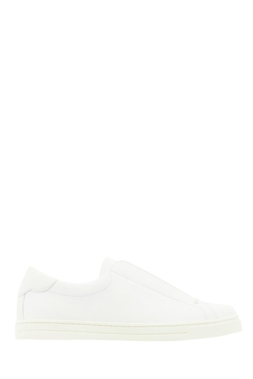 Белые кожаные слипоны с текстильной вставкой Fendi