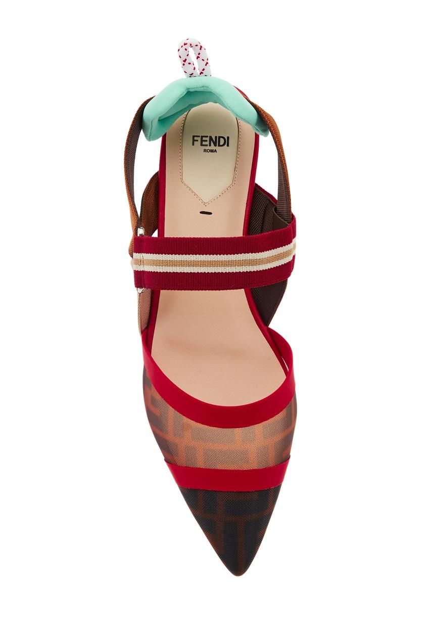 Комбинированные остроносые туфли на плоской подошве фото