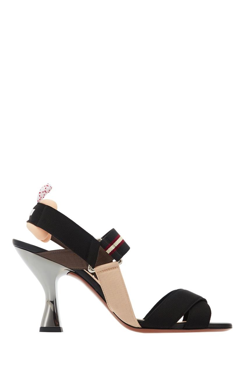 Бежево-черные босоножки с каблуком-рюмкой Fendi