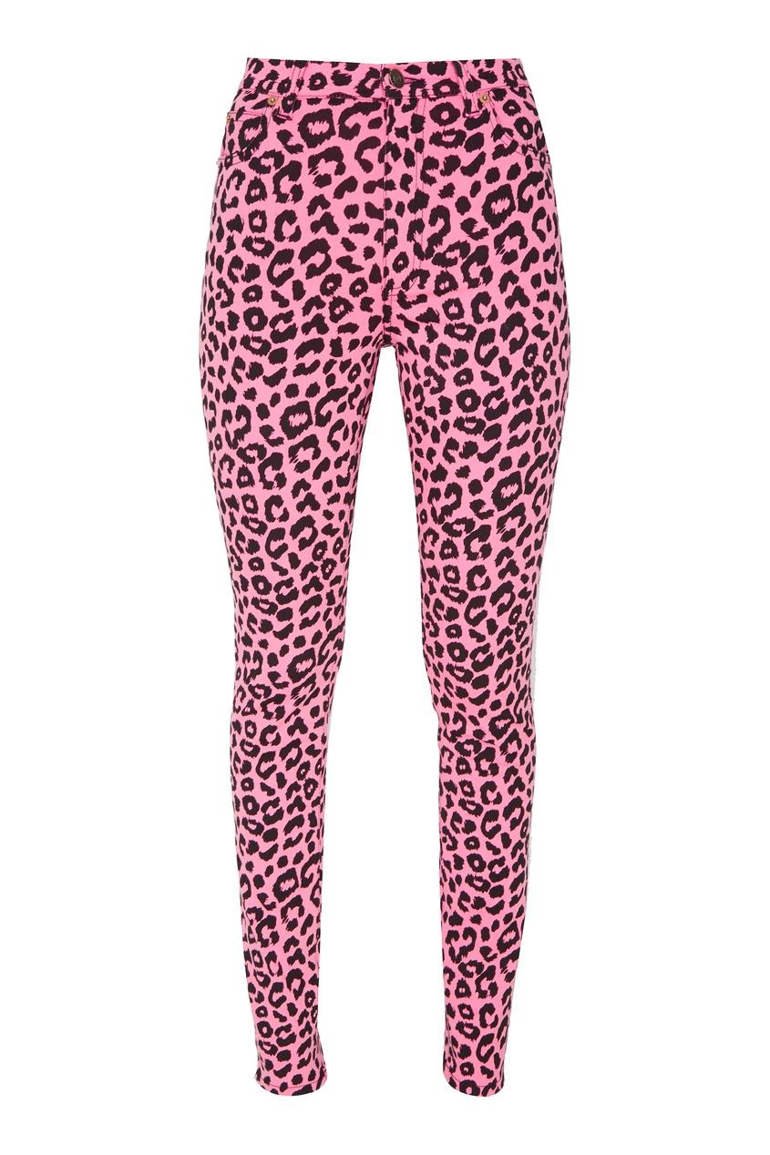 Розовые джинсы с леопардовым принтом
