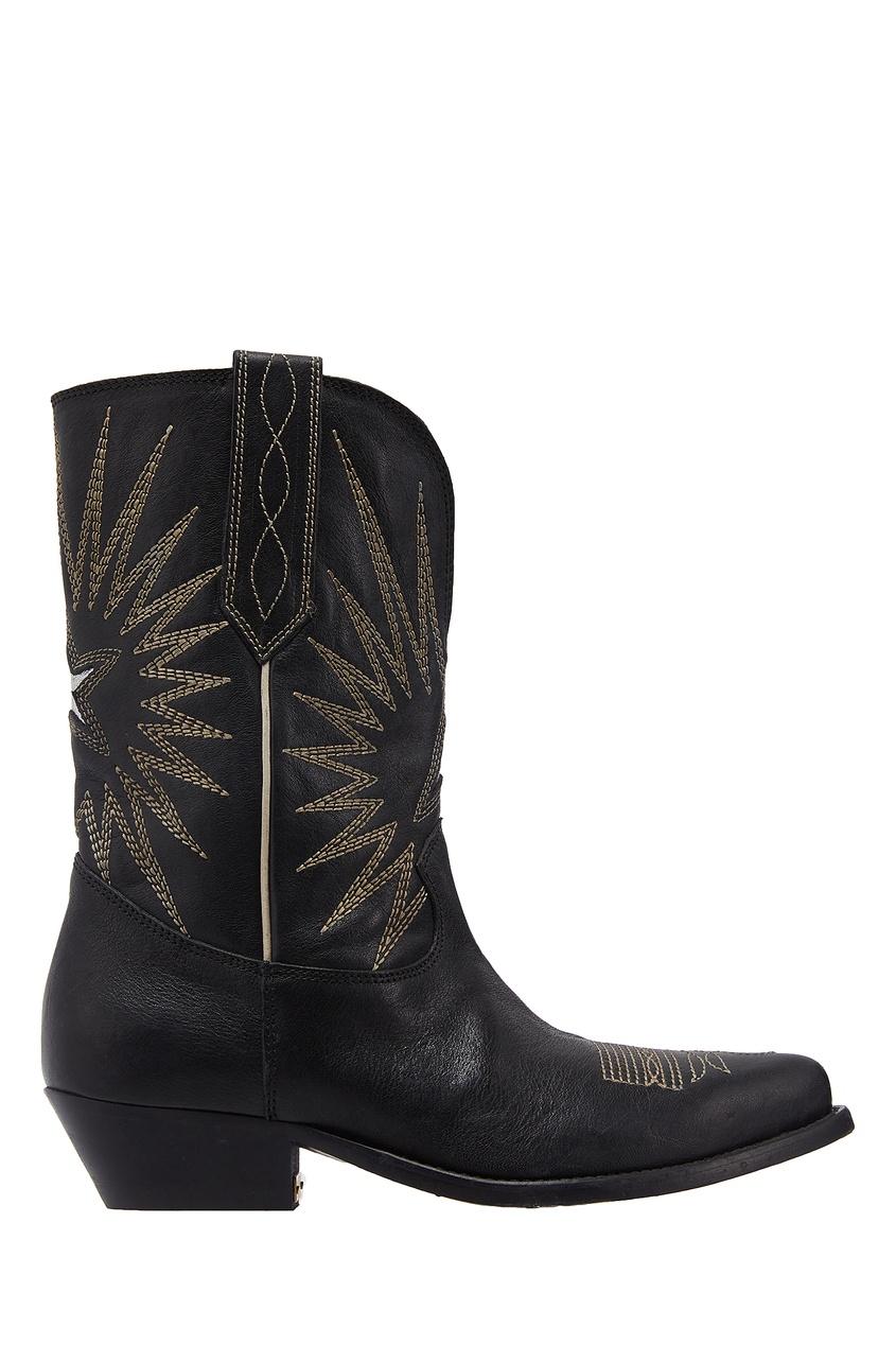 Черные ковбойские сапоги с вышивкой Golden Goose Deluxe Brand