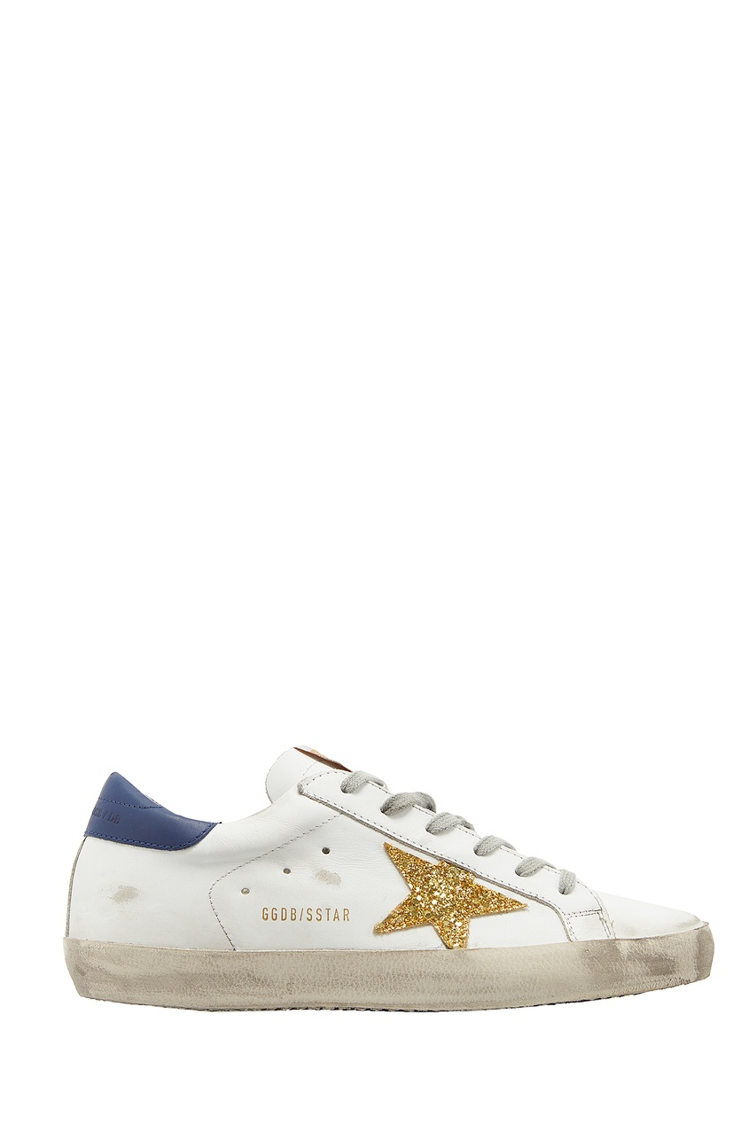 Кроссовки Superstar с золотисто-синей отделкой Golden Goose Deluxe Brand
