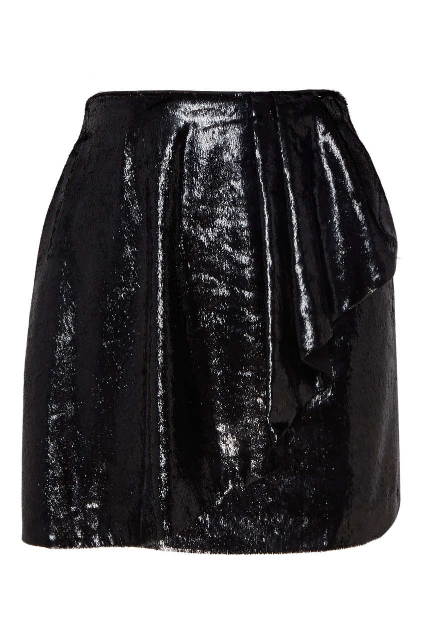Черная мини-юбка с воланом MO&Co