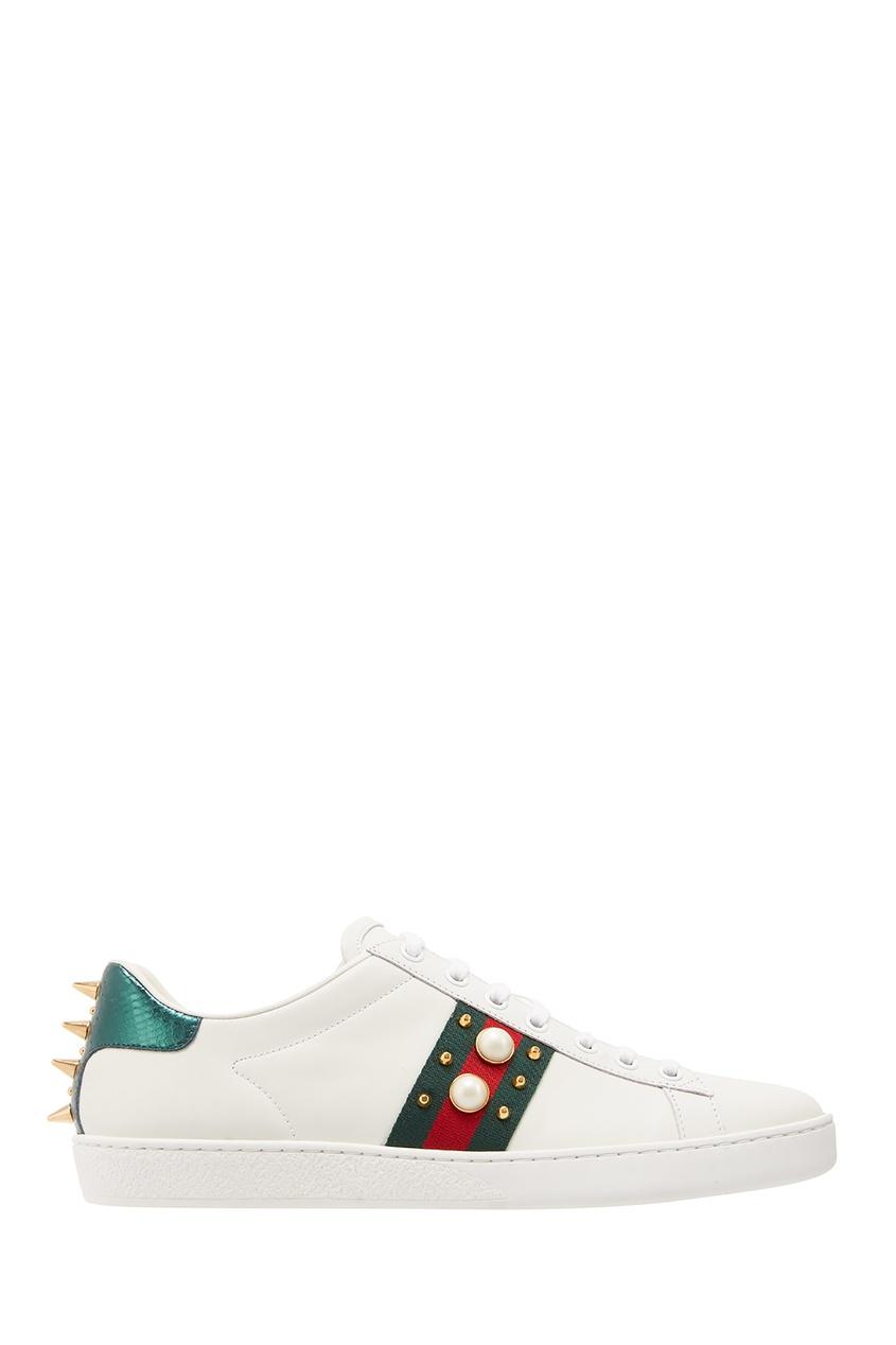 Белые кеды с отделкой Gucci