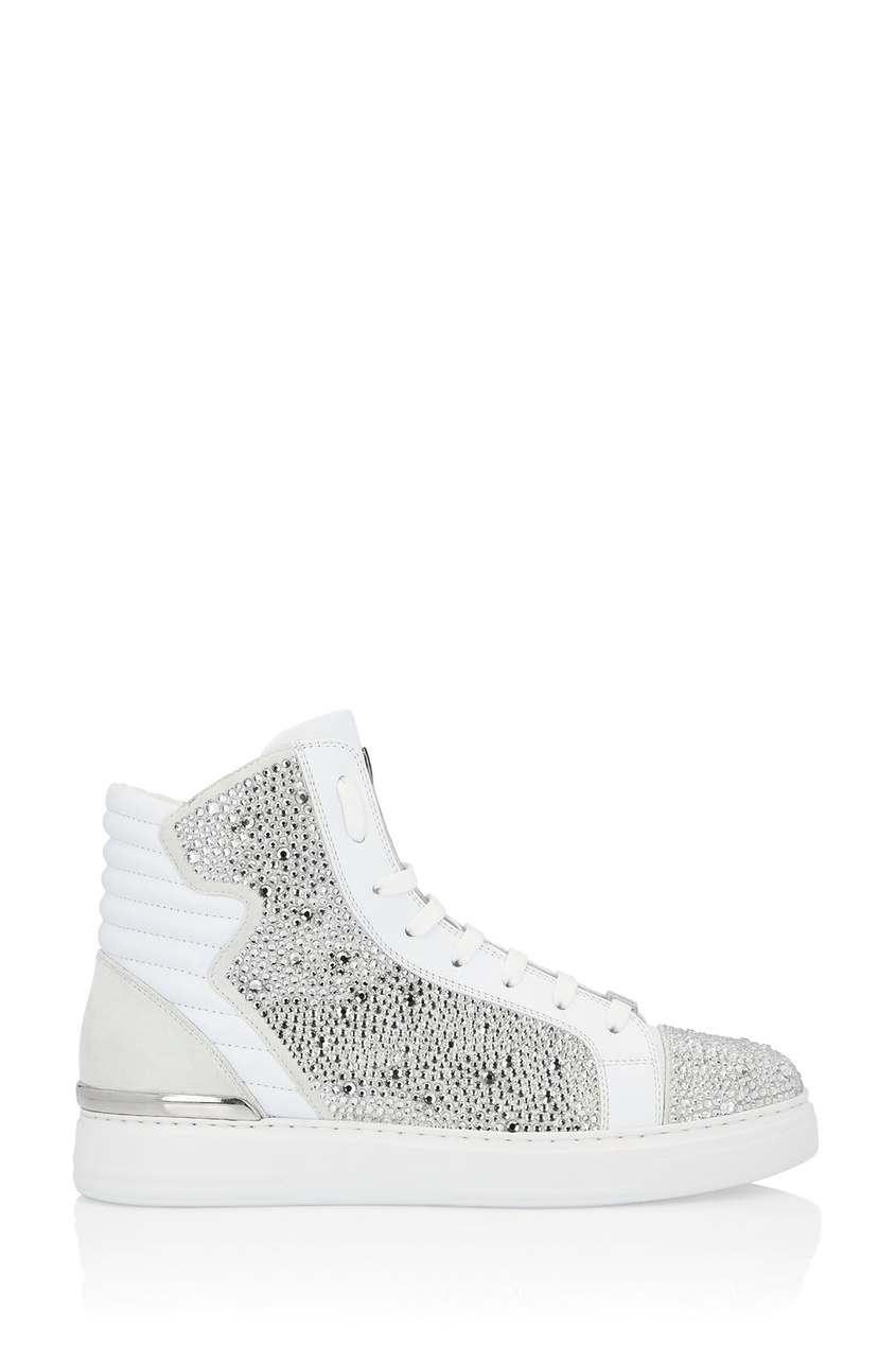 Белые кеды с кристаллами Philipp Plein