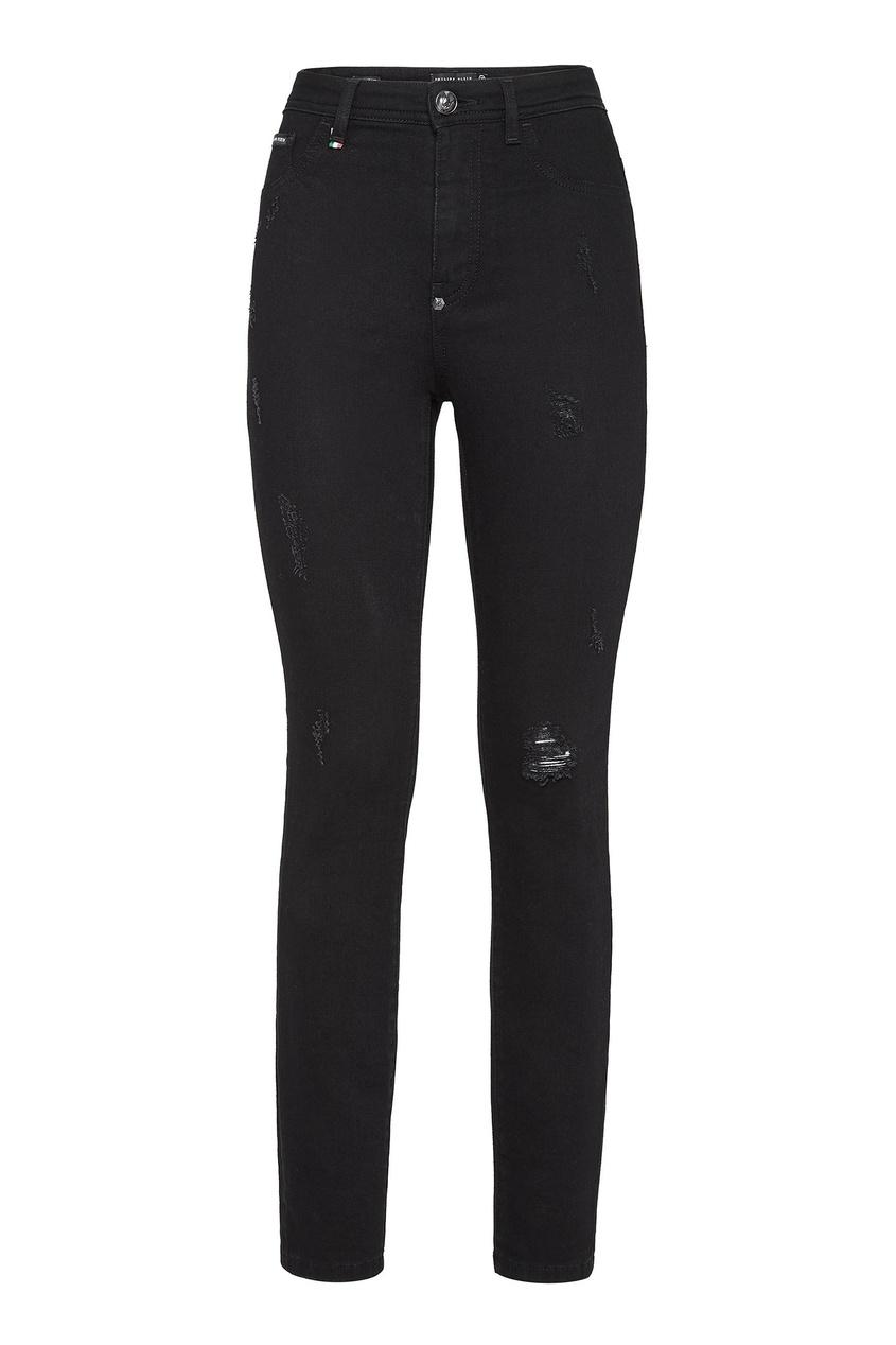 Черные джинсы с прорезями Philipp Plein