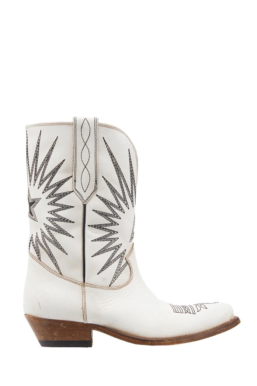 Белые ковбойские сапоги с вышивкой Golden Goose Deluxe Brand