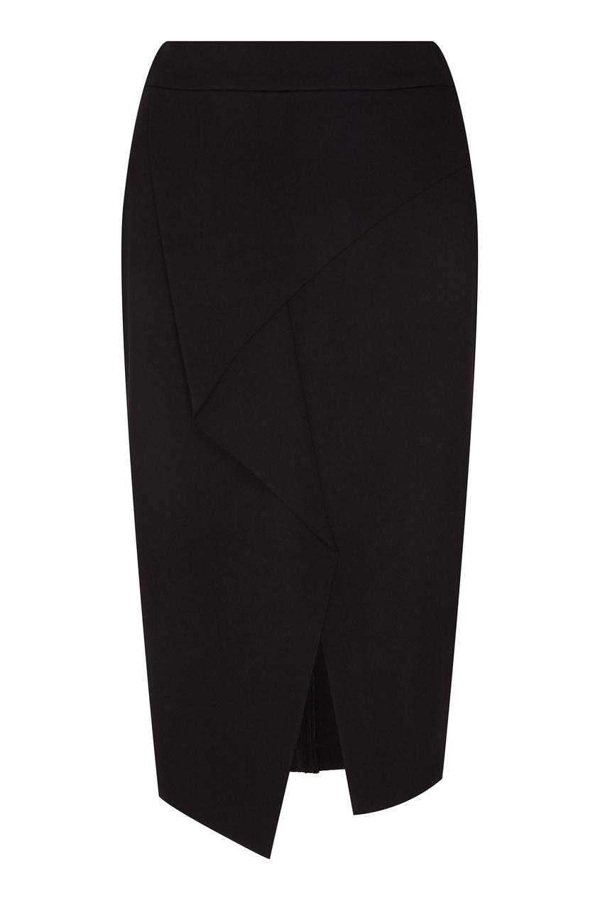 Черная юбка с драпировкой ADOLFO DOMINGUEZ