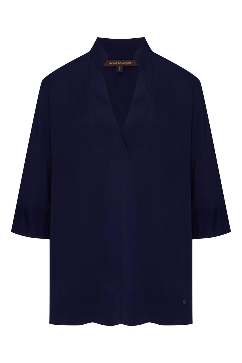 Фото - Синяя блузка с укороченными рукавами синего цвета