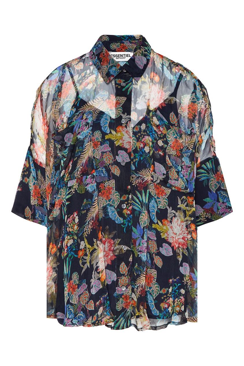 Купить со скидкой Свободная блуза с цветочным принтом