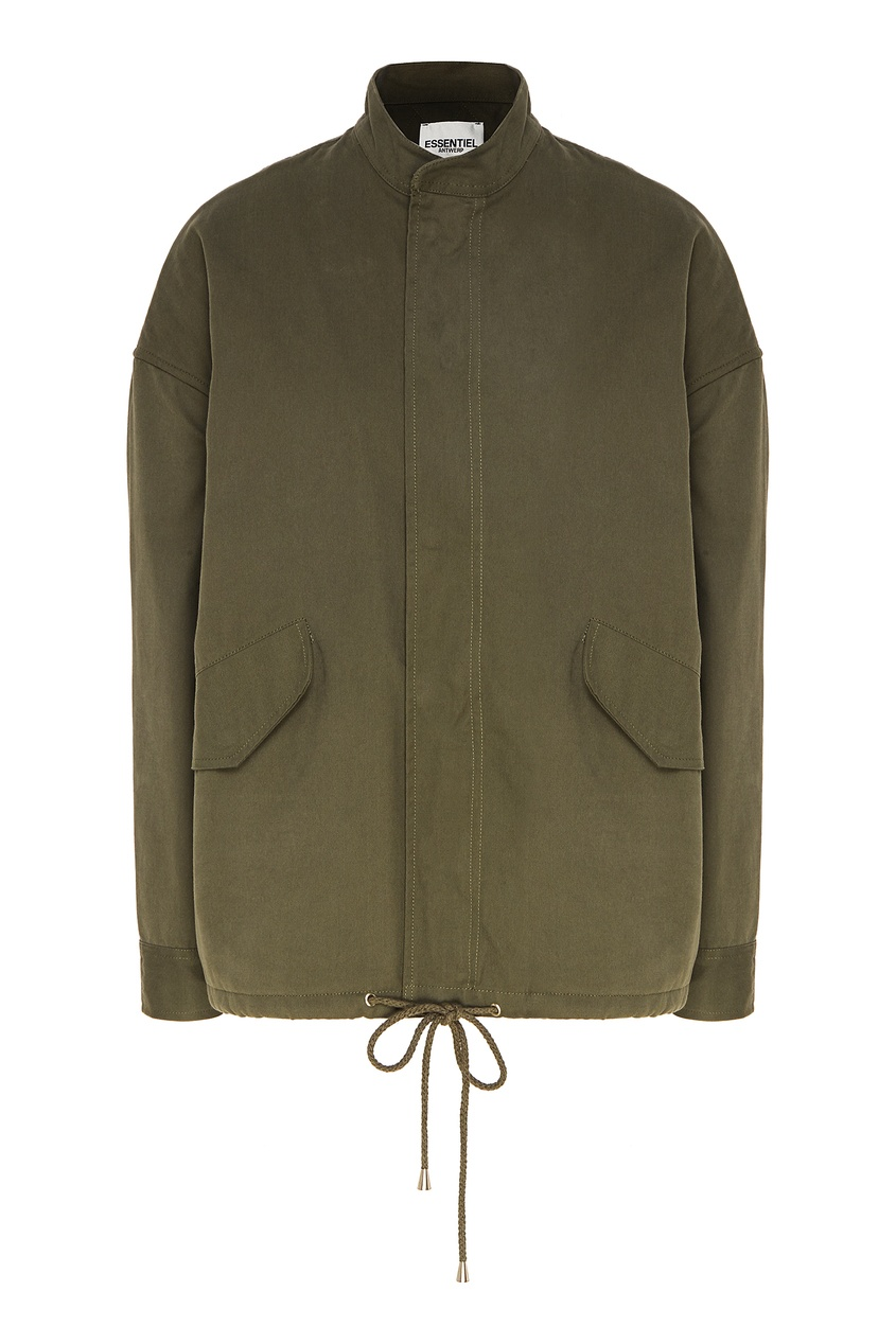 Купить со скидкой Куртка цвета хаки с розовыми пайетками